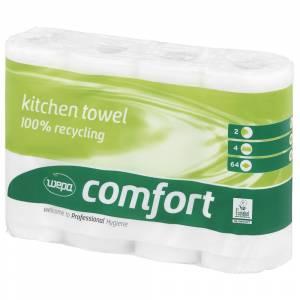 Køkkenrulle, Wepa Comfort, 2-lags, 14m x 26cm, Ø12cm, hvid, 100% genbrugspapir