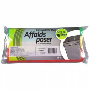 Affaldspose, Rul-let, 15 l, flerfarvet, LDPE/virgin, 37x50cm - 3x20pk