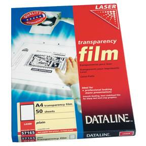 Dataline Transparent til sort/hvid laser/kopimaskine 100stk/æske