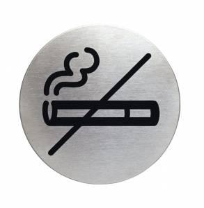 Skilt RYGNING FORBUDT Ø: 83 mm børstet stål