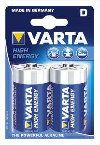 Batteri Varta High Energy LR20 D 2stk/pak