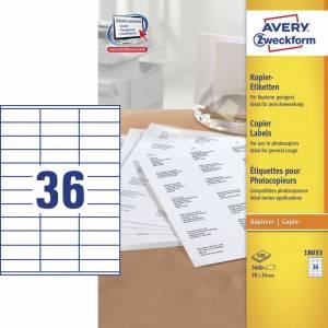Avery (18033) Etiketter t/ kopimaskiner 24x70mm (3600)
