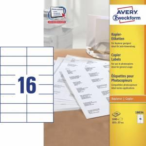 Avery (18034) Etiketter t/ kopimaskiner 37x105mm (1600)