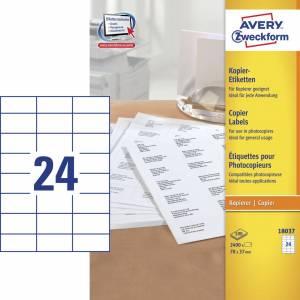Avery (18037) Etiketter t/ kopimaskiner 37x70mm (2400)