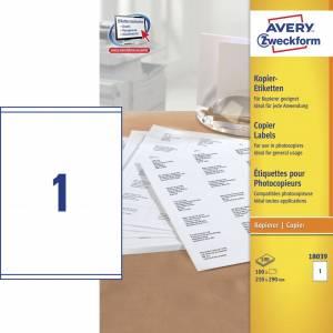 Avery (18039) Etiketter t/ kopimaskiner 210x290mm (100)