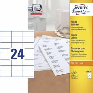Avery (18030) Etiketter t/ kopimaskiner 36x70mm (2400)
