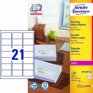 Avery (LR7160-100) adresseetiket m/QuickPEEL 63,5x38,1mm (2100)