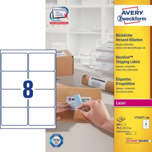 Avery (7165-100) adresseetiket m/ BlockOut 99,1x67,7mm - 100x8stk