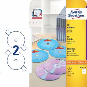 Avery (L7676-25) CD labels Fullface Ø:117mm (50)