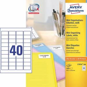 Avery (L7654-100) adresseetiket standard 45,7x25,4mm (4000)