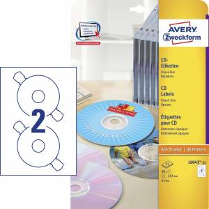 CD-labels Avery (L6043-25) Med QuickDRY Ø117mm (50stk)