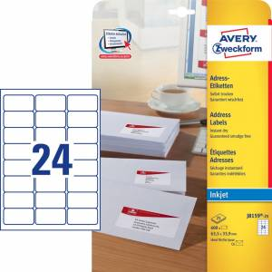 Avery (J8159-25) adresseetiket m/ QuickDRY 63,5x33,9mm (600)
