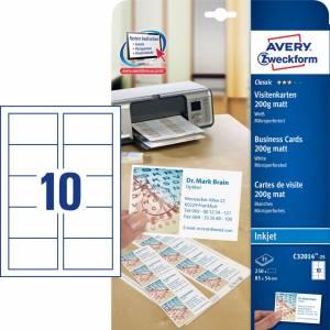 Avery Visitkort (C32014-25) t/inkjet Mikroperforerede 200g hvid mat (250)