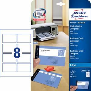 Visitkort Avery (C32015-25) Quick&Clean 260g hvid mat (200)
