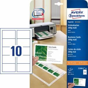 Visitkort Avery (C32011-25) Quick&Clean 200g hvid mat (250)