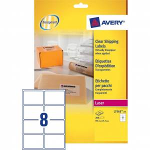Avery (L7565-25) Gennemsigtige etiketter 99,1x67,7mm (200)