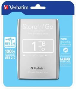 Hard Drive 2,5 Verbatim 1TB extern USB 3.0 53071 silver