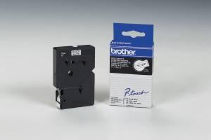 Labeltape Brother TC201 12mm sort på hvid lamineret