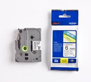 Brother TZe-211 Lamineret tape 6mm x 8m - Sort på hvid