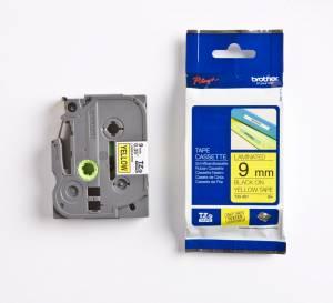 Brother TZe-621 Lamineret tape 9mm x 8m - Sort på gul