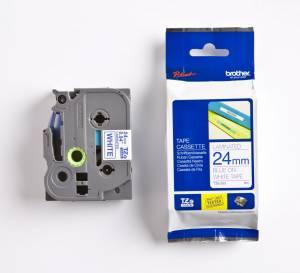 Brother TZe-253 lamineret tape 24mm x 8m - Blå på hvid