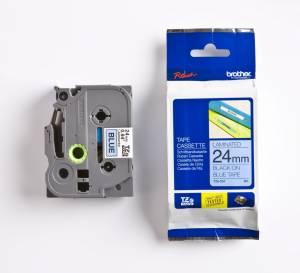 Brother TZe-551 Lamineret tape 24mm x 8m - Sort på blå