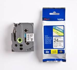 Brother TZe-251 Lamineret tape 24mm x 8m - Sort på hvid