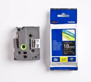 Brother TZe-345 Lamineret tape 18mm x 8m - Hvid på sort