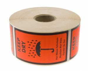 Etiketter selvkl. tryk: Keep Dry 120x86mm flu. 1.000stk/rul