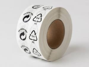 Etiketter PE og Grüne Punkt hvid/sort 45x25mm 1000stk
