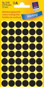 Etiket Avery sort Ø12mm 3140 270stk/pak