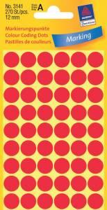 Etiket Avery (3141) runde Ø:12mm Rød - 270stk/pak