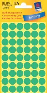 Etiket Avery (3143) runde Ø:12mm Grøn - 270stk/pak
