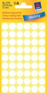Etiket Avery (3145) runde Ø:12mm hvid - 270stk/pak