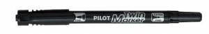 Marker TWIN Pilot BG sort 0,3/0,5mm permanent 10stk/æsk