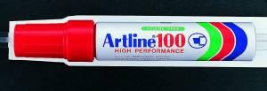 Marker Artline 100 permanent rød 7,5-12mm