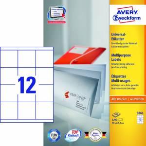 Avery (3661) Universaletiketter permanentklæb. 67,7x70mm (1200)