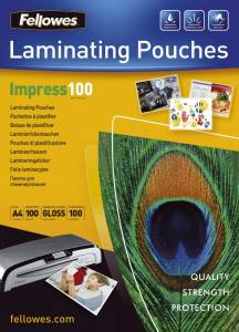 Lamineringslommer Fellowes blank 100mic A4 (216x303) - 100stk/æsk