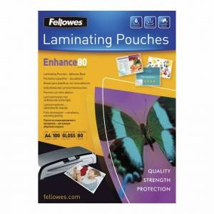 Lamineringslommer Fellowes (selvkl. bags.) blank 80 mic. A4   -  100stk/æsk