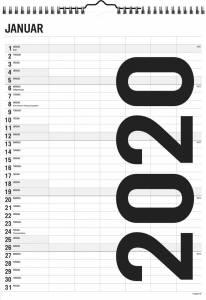 Mayland Familiekalender Black & white 29,4x39cm 6 kolonner 20 0665 00