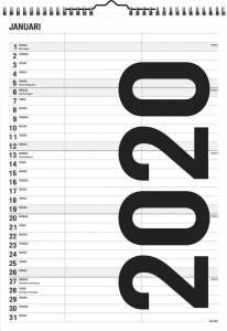 Mayland Familiekalender Black & white 21x29,7cm 2 kolonner 20 0665 10