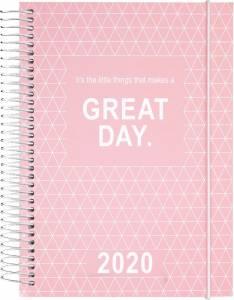Mayland Dagkalender 2020  m/spiral 1dag/side 12x17cm -  Rosa Karton omslag