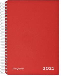 Mayland Timekalender ( 2021! ) m/spiral 17x23,5cm - Rød