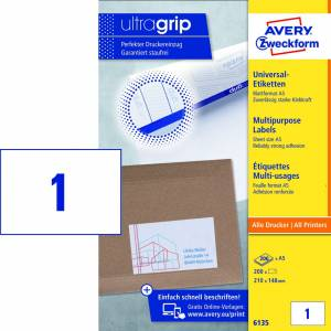 Laseretiket Avery (6135) A5 Ultragrip 210x148mm - 200ark/pak