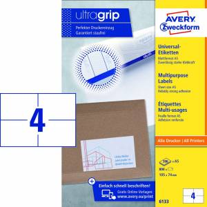 Laseretiket Avery Ultragrip  (6133) A5 105x74mm - 200ark/pak