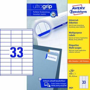 Avery (3421) Universaletiketter med Ultragrip 25,4x70mm (3300)