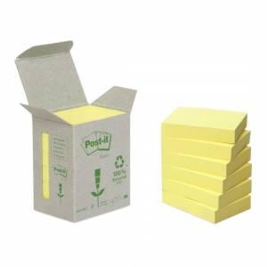 Post-it Notes 38x51 Recycled Gul - 6stk/pak
