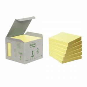 Post-it Notes 76x76 Recycled Gul - 6stk/pak