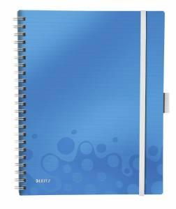 Notesblok Be Mobile Leitz WOW A4 Linieret 80ark, elastikluk. 3-klap Blå