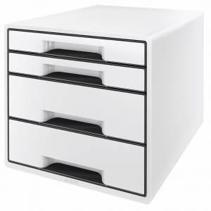 Skuffekabinet Desk Cube Leitz m/ 4 skuffer -  HVID/GRAFITGRÅ